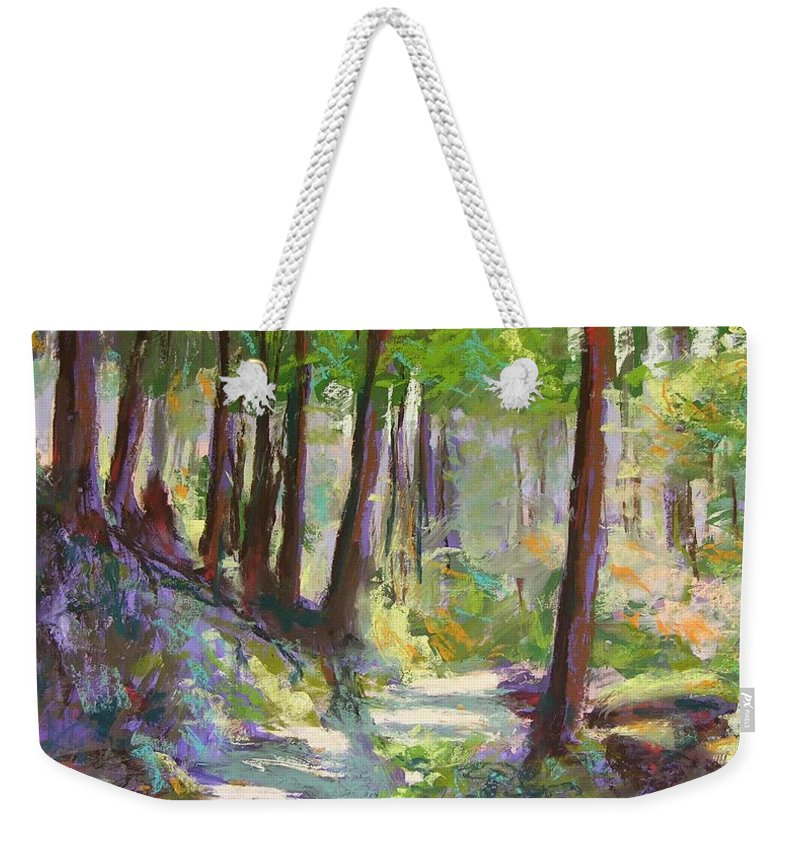 Landscape Weekender Tote Bag featuring the painting Lena Lake Trail Shadows by Mary McInnis