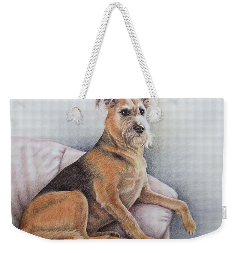 Dog Weekender Tote Bag featuring the pastel Lena by Nicole Zeug
