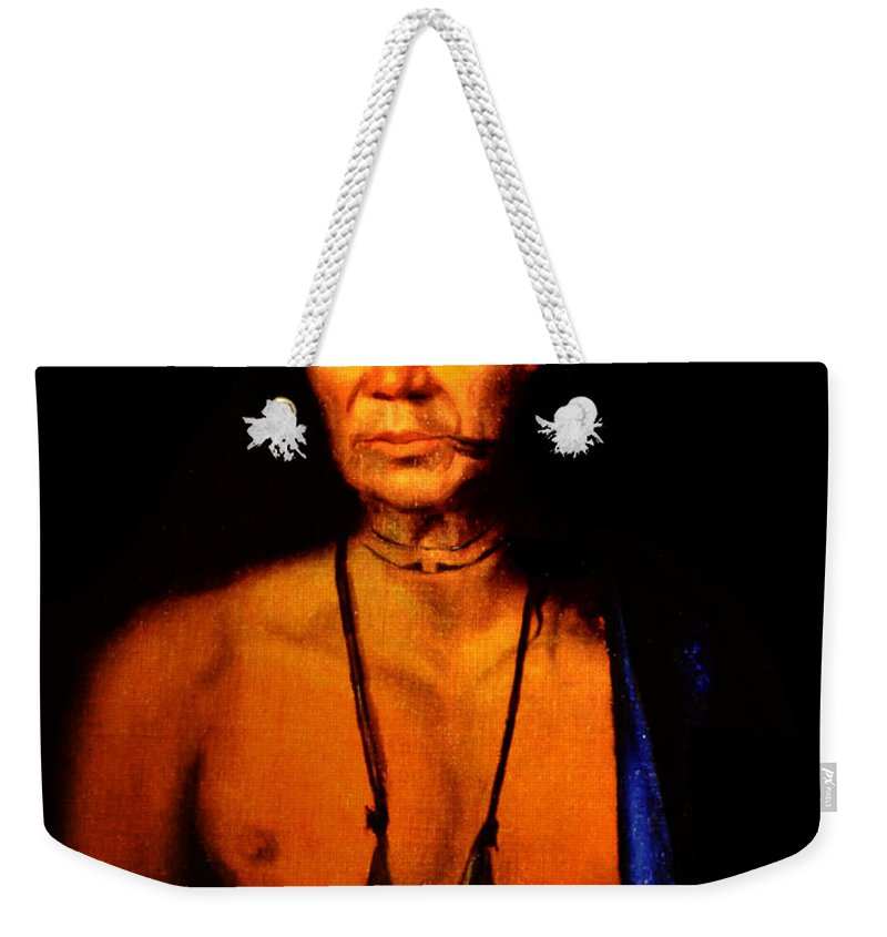 Lenne Weekender Tote Bag featuring the photograph Lenape Chief by Bill Cannon