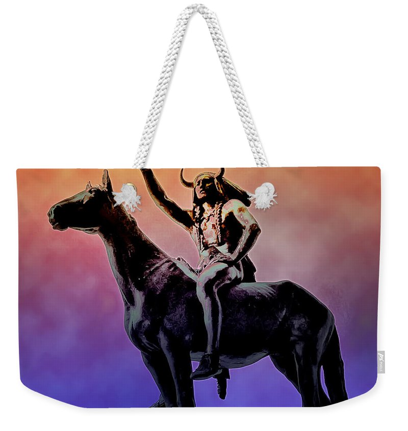 Indian Weekender Tote Bag featuring the photograph Lenape Indian Chief by Bill Cannon