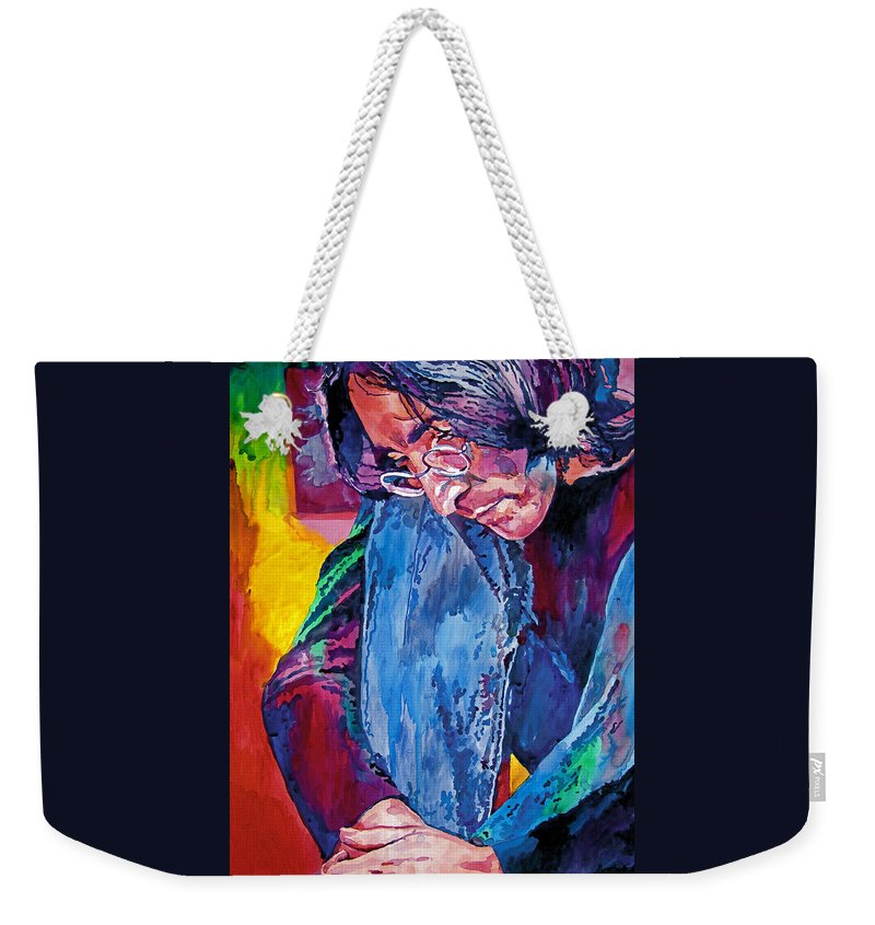 Rock Star Weekender Tote Bag featuring the painting Lennon In Repose by David Lloyd Glover