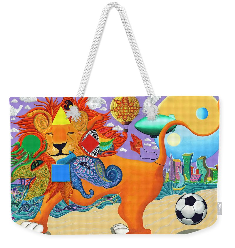 Leo Weekender Tote Bag featuring the painting LEO by Vera Tour