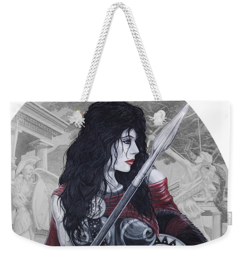 Spartan Weekender Tote Bag featuring the drawing Leonadia by Kristopher VonKaufman