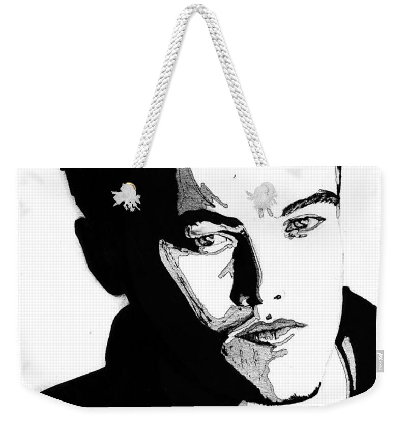 Portrait Weekender Tote Bag featuring the mixed media Leonardo Dicaprio Portrait by Alban Dizdari