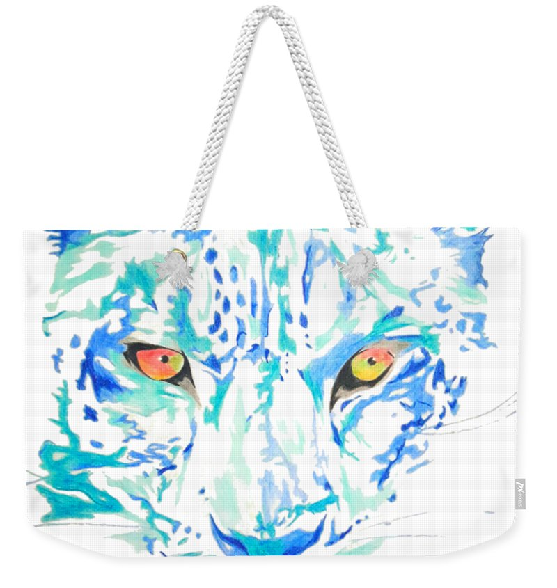 Painting Weekender Tote Bag featuring the drawing Leopard by Adriano Diana