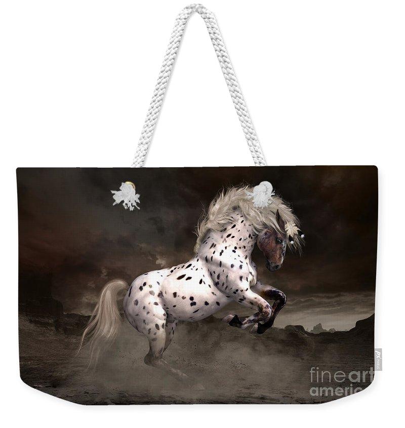 Leopard Appaloosa Weekender Tote Bag featuring the digital art Leopard Appaloosa Shiloh by Shanina Conway