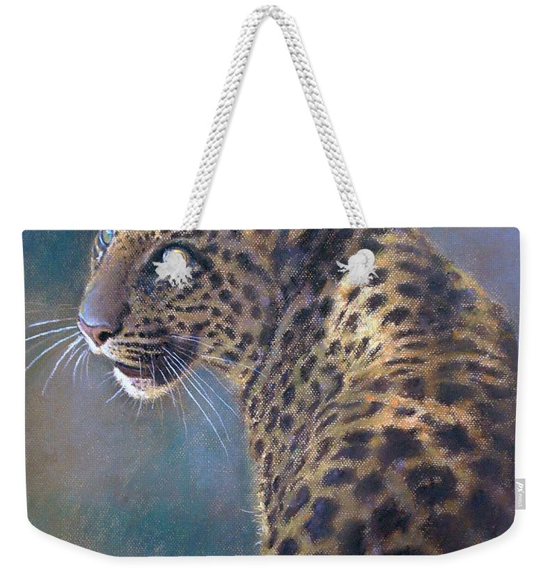 Cats Weekender Tote Bag featuring the pastel Leopard by Iliyan Bozhanov