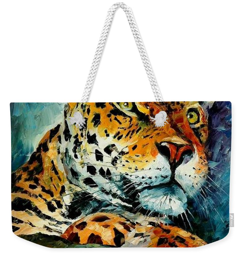 Animals Weekender Tote Bag featuring the painting Leopard by Leonid Afremov