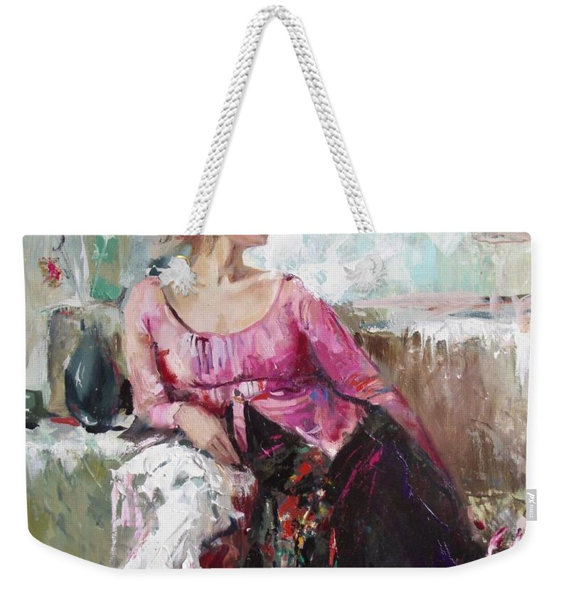 Ignatenko Weekender Tote Bag featuring the painting Lera by Sergey Ignatenko
