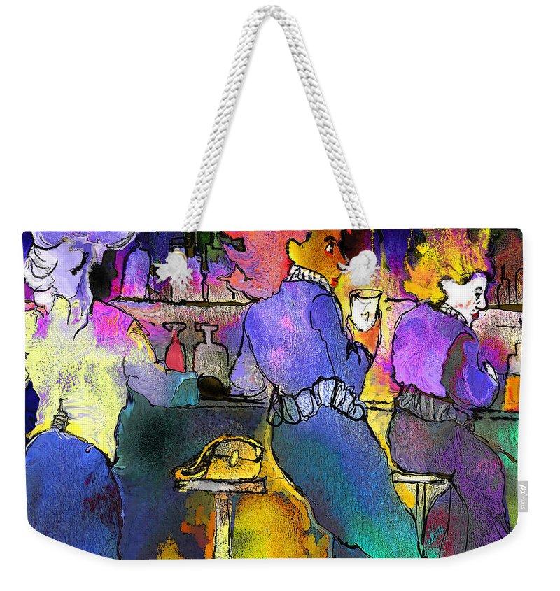 Dream Weekender Tote Bag featuring the painting Les Filles Du Cafe De La Nuit by Miki De Goodaboom