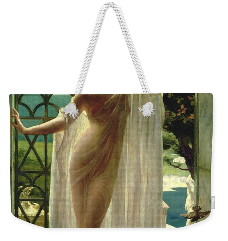 Lesbia Weekender Tote Bag featuring the painting Lesbia by John Reinhard Weguelin