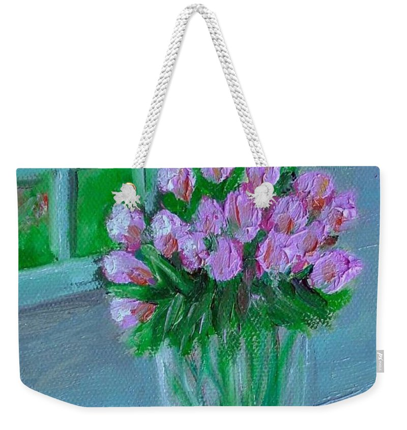 Rose Weekender Tote Bag featuring the painting Leslie's Roses by Laurie Morgan
