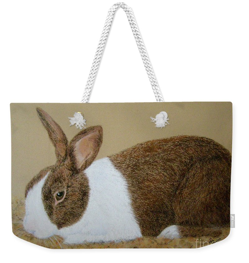 Bunny Weekender Tote Bag featuring the painting Les's Rabbit by Lynn Quinn