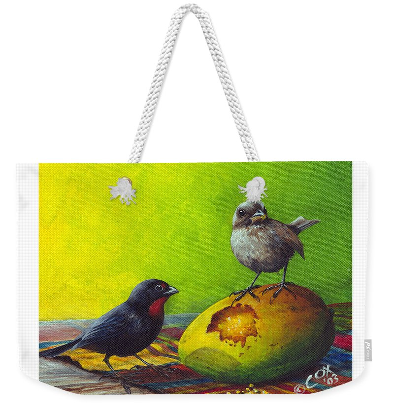 Chris Cox Weekender Tote Bag featuring the painting Lesser Antillean Bullfinches And Mango by Christopher Cox