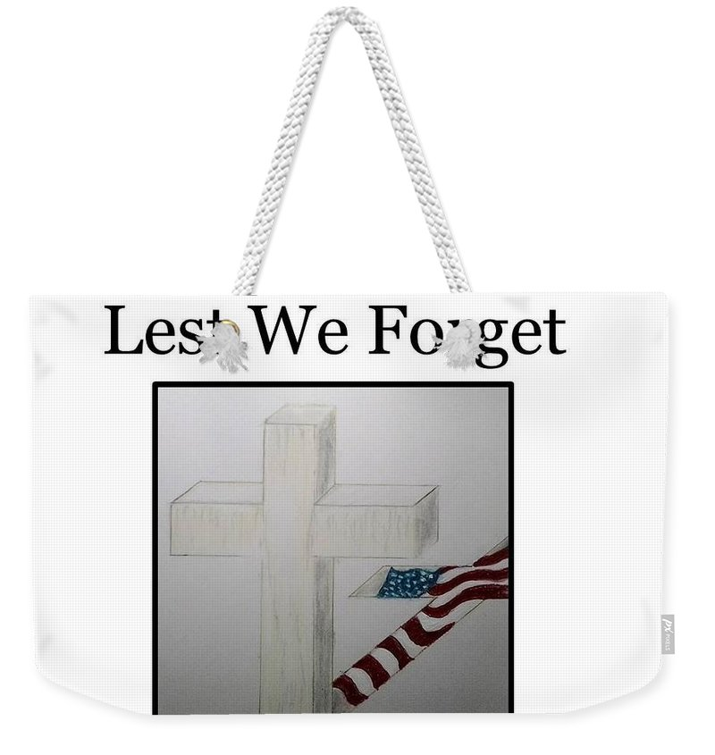 Flag Weekender Tote Bag featuring the painting Lest We Forget by Angel Figueroa