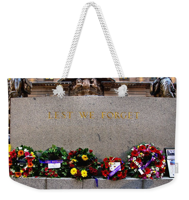 Anzac Weekender Tote Bag featuring the photograph Lest We Forget War Memorial Martin Place by Miroslava Jurcik
