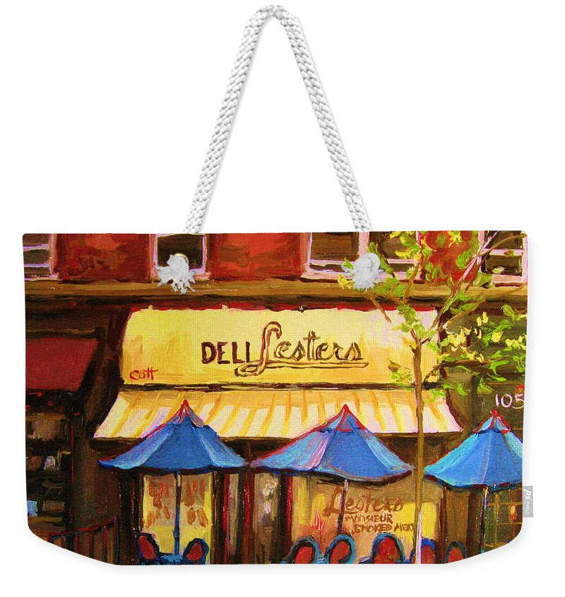 Lesters Deli Weekender Tote Bag featuring the painting Lesters Cafe by Carole Spandau