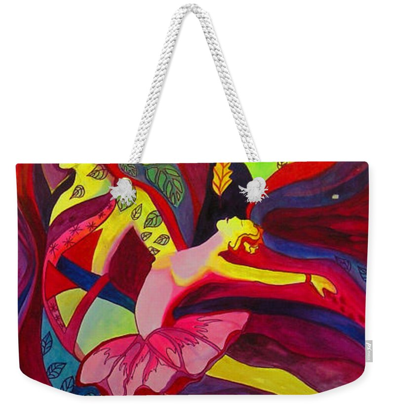 Dancing Weekender Tote Bag featuring the painting Let Go by Carolyn LeGrand