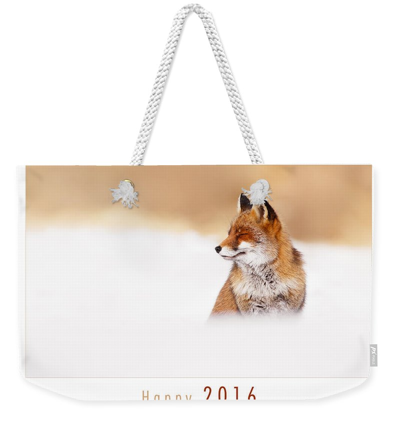 Fox Weekender Tote Bag featuring the photograph Let It Snow 2 - New Years Card Red Fox In The Snow by Roeselien Raimond