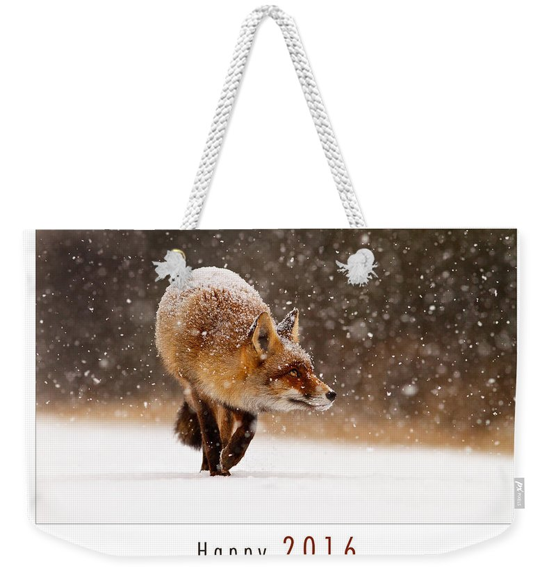 Fox Weekender Tote Bag featuring the photograph Let It Snow 4 - New Years Card Red Fox In The Snow by Roeselien Raimond