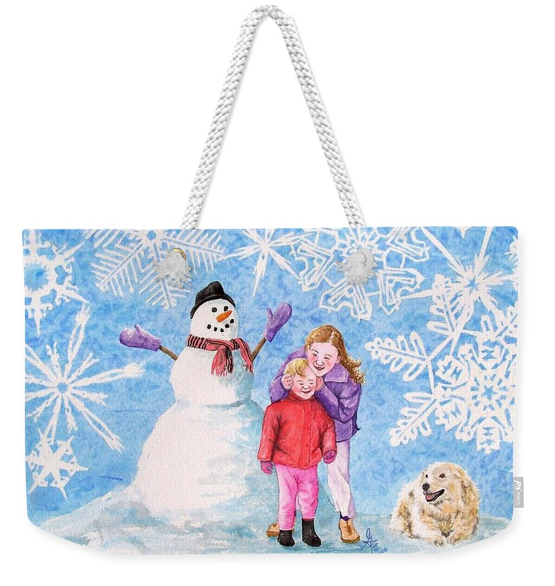 Snowman Weekender Tote Bag featuring the painting Let It Snow by Gale Cochran-Smith
