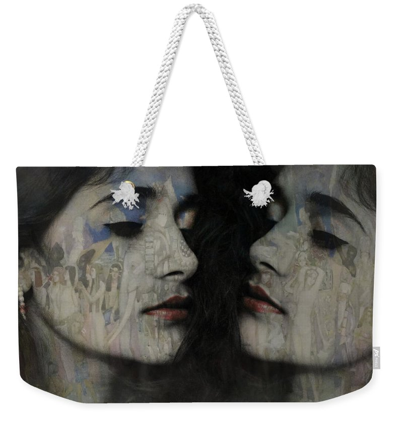Desire Weekender Tote Bag featuring the mixed media Let The Dream Begin Let Your Darker Side Give In by Paul Lovering