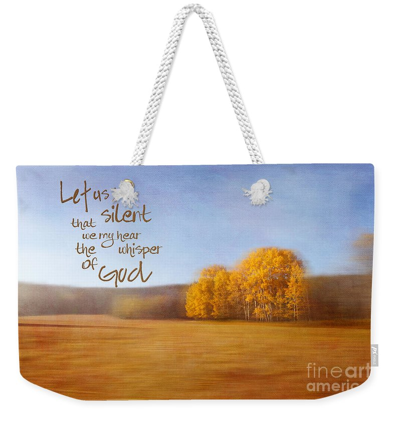 Golden Weekender Tote Bag featuring the photograph Let Us Be Silent by Beve Brown-Clark Photography