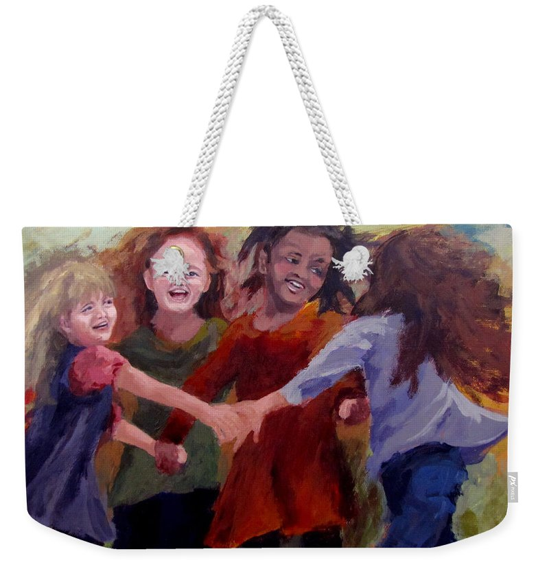 Children Weekender Tote Bag featuring the painting Lets Dance by Karen Ilari