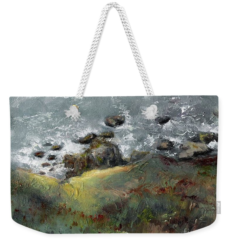 Coastal Weekender Tote Bag featuring the painting Lets Go Coastal by Frances Marino