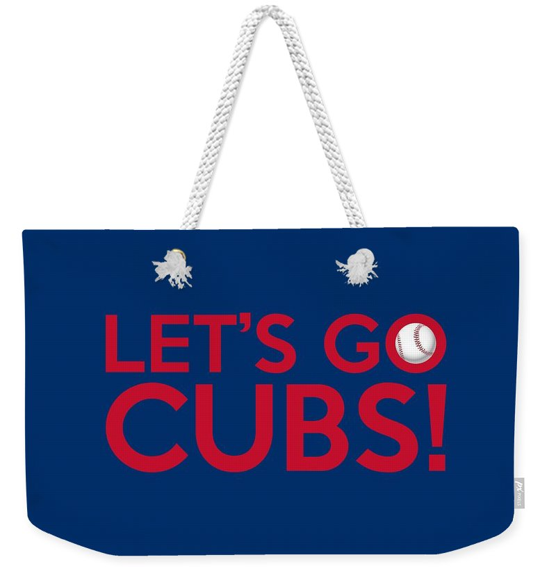 Chicago Cubs Weekender Tote Bag featuring the painting Let's Go Cubs by Florian Rodarte