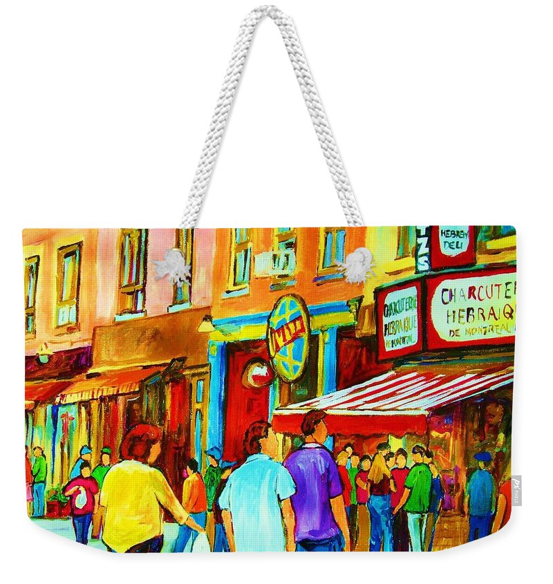Cityscape Weekender Tote Bag featuring the painting Lets Meet For Lunch by Carole Spandau