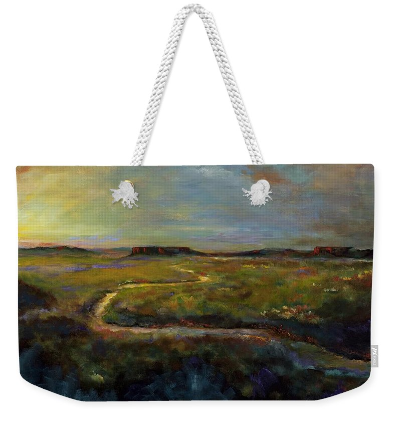 Paths Weekender Tote Bag featuring the painting Let's Take This Path by Frances Marino