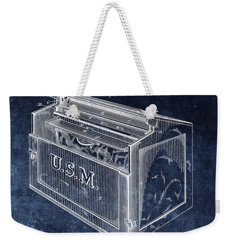 1881 Mailbox Patent Weekender Tote Bag featuring the drawing Letter Box Patent by Dan Sproul
