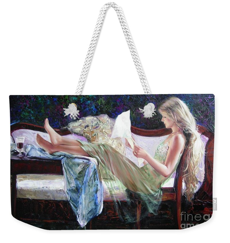 Figurative Weekender Tote Bag featuring the painting Letter From Him by Sergey Ignatenko