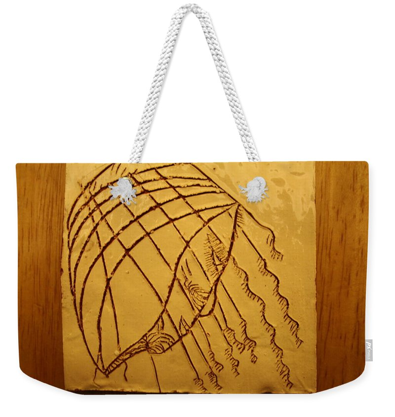 Jesus Weekender Tote Bag featuring the ceramic art Levels - Tile by Gloria Ssali