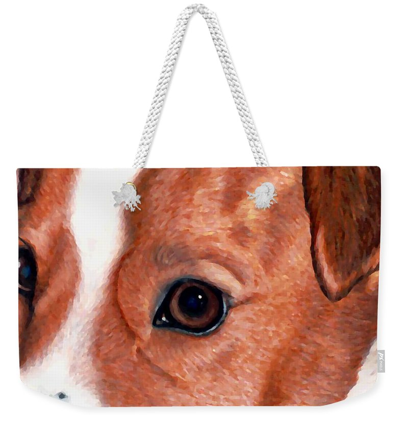 Jack Russell Terrier Weekender Tote Bag featuring the drawing Lewie by Kristen Wesch