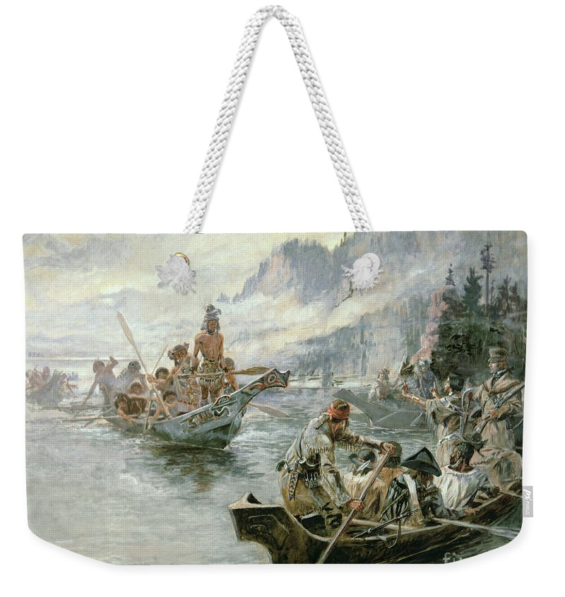 Rivers Weekender Tote Bag featuring the painting Lewis And Clark On The Lower Columbia River by Charles Marion Russell