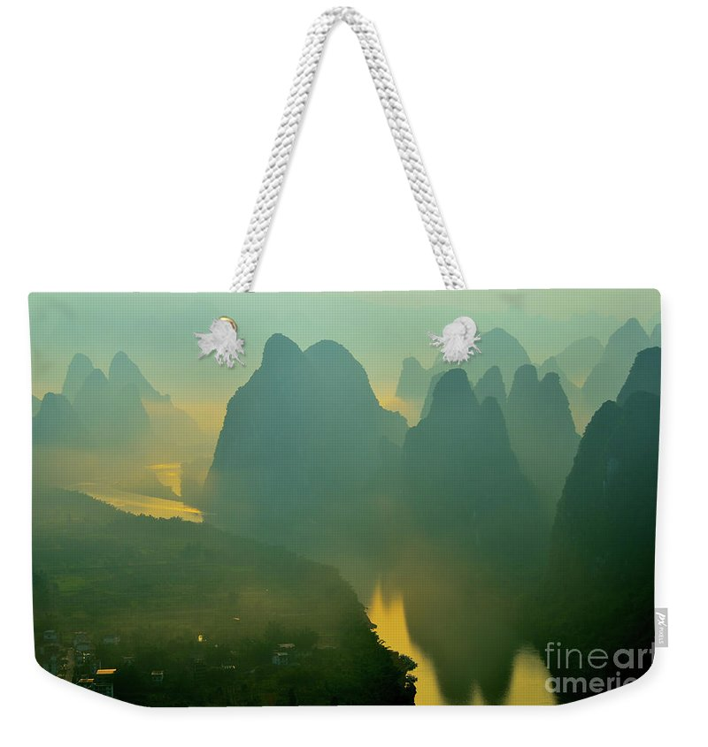 Li River Weekender Tote Bag featuring the photograph Li River At Dawn by Yinguo Huang