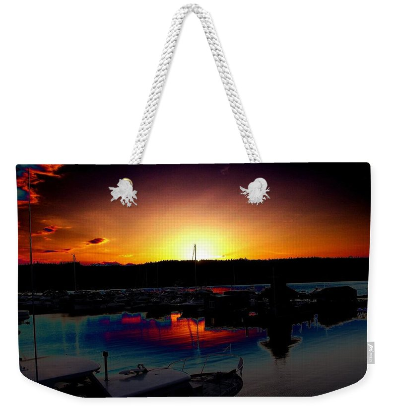 Sunset Weekender Tote Bag featuring the photograph Liberty Bay Sunset by Tim Allen