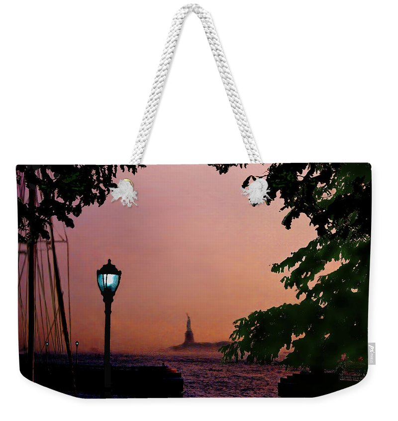 Seascape Weekender Tote Bag featuring the digital art Liberty Fading Seascape by Steve Karol