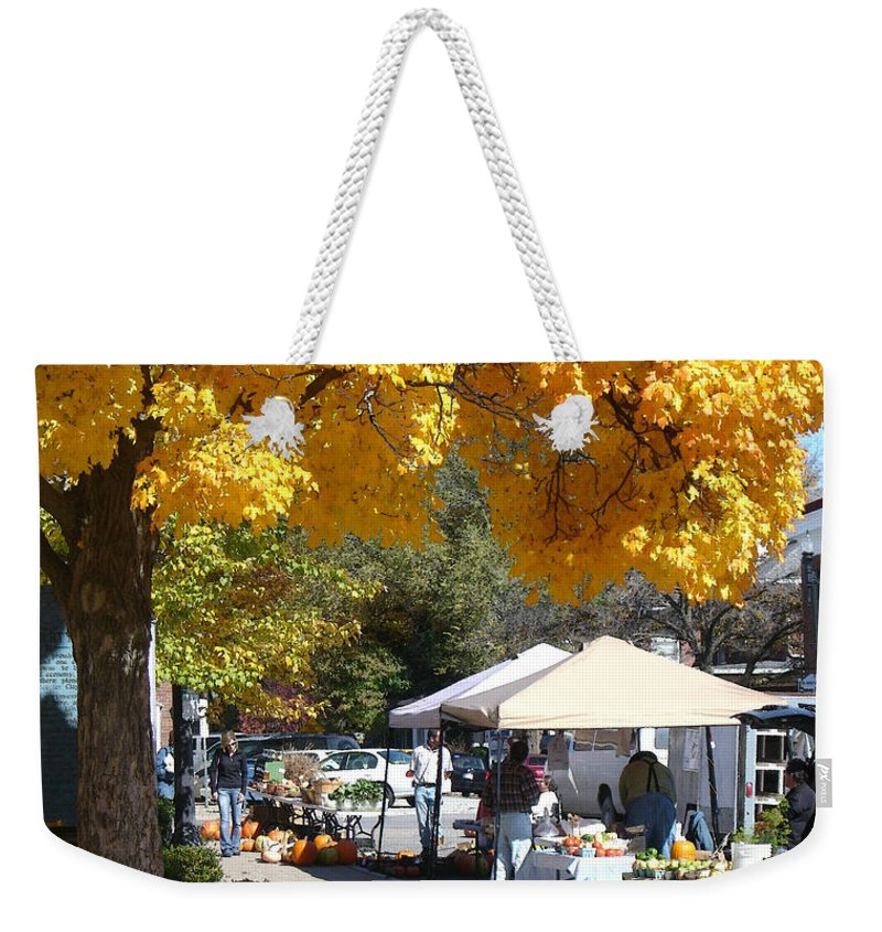 Fall Weekender Tote Bag featuring the photograph Liberty Farmers Market by Steve Karol