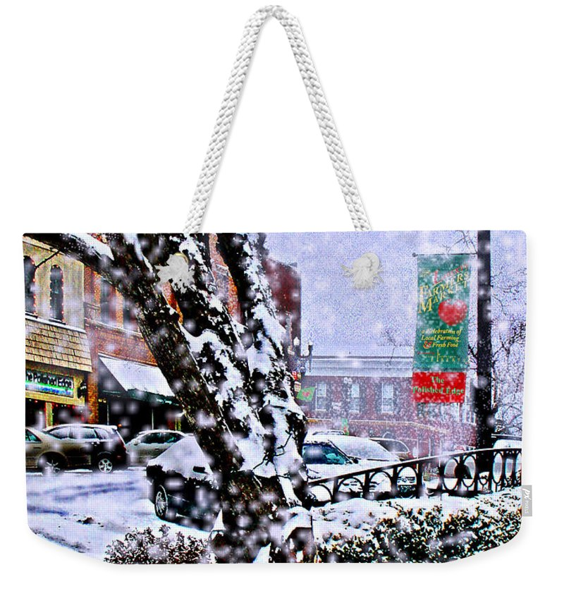 Landscape Weekender Tote Bag featuring the photograph Liberty Square In Winter by Steve Karol