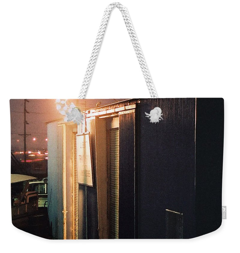Night Scene Weekender Tote Bag featuring the photograph Liberty by Steve Karol