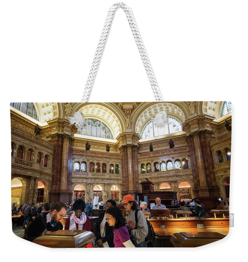 America Weekender Tote Bag featuring the photograph Library Of Congress, Main Reading Room, Jefferson Building - 2 by Riccardo Forte