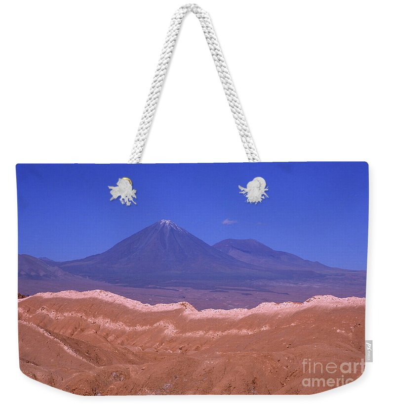 Chile Weekender Tote Bag featuring the photograph Licancabur Volcano Seen From The Atacama Desert Chile by James Brunker