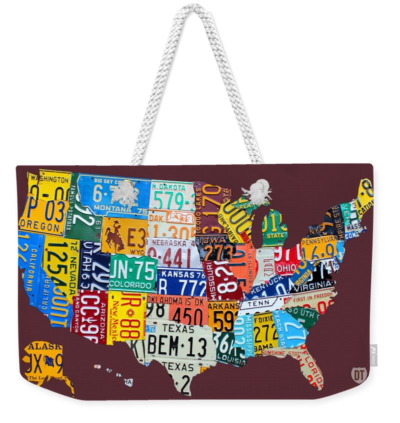 Art Weekender Tote Bag featuring the mixed media License Plate Map of The United States by Design Turnpike