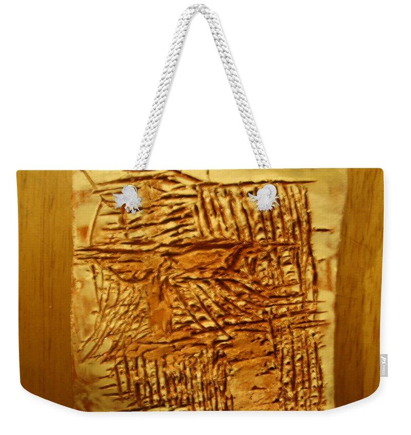 Jesus Weekender Tote Bag featuring the ceramic art Life - Tile by Gloria Ssali