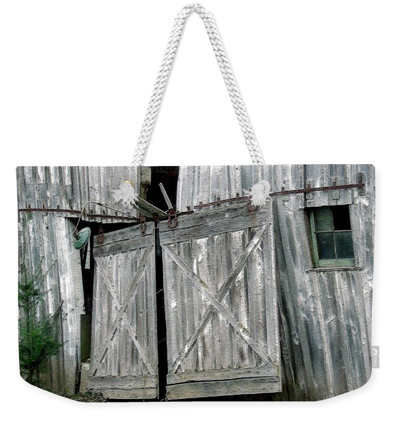 Barn Weekender Tote Bag featuring the digital art Life Among The Ruins by RC DeWinter