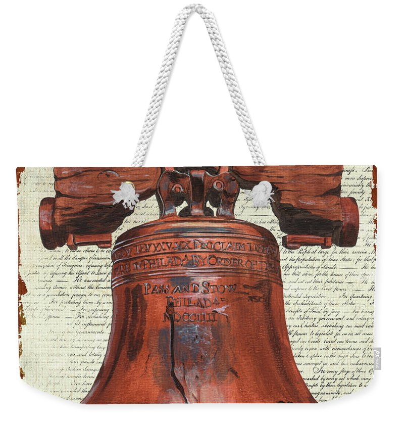 Bell Weekender Tote Bag featuring the painting Life and Liberty by Debbie DeWitt