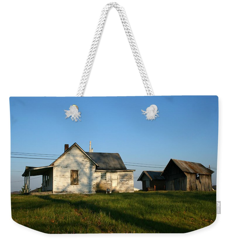 Old House Barn Life Past Age Forgotten Forget Time Left Leave Blue Green White Kentucky Ky Country Weekender Tote Bag featuring the photograph Life Behind by Andrei Shliakhau